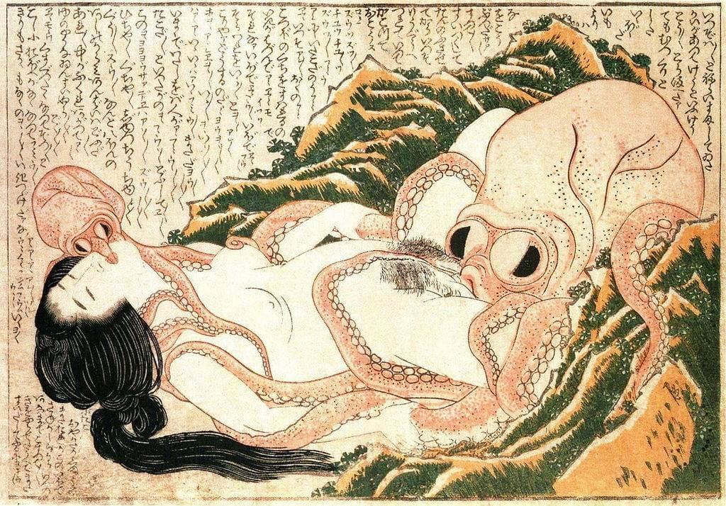 O Sonho da Esposa do Pescador, de Katsushika Hokusai, de 1814, famoso exemplo de shunga.
